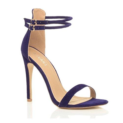 Damen Hohen Absatz Kaum Dort Fesselriemen Schnalle Stilettos High Heels Sandalen Schuhe Größe Königsblau Wildleder