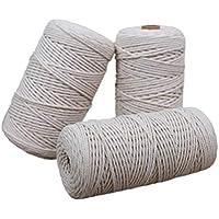 SUPVOX Cuerda de yute de cuerda de algodón con cordel para manualidades Artes Cuerda de embalaje de cordones de regalo para aplicaciones de jardinería (Beige)
