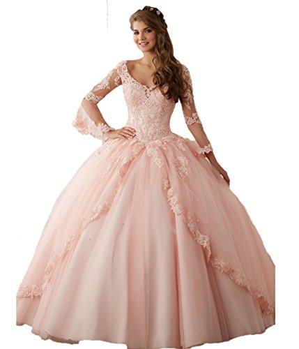 CoCogirls Prinzessin Tuell Ballkleider Spitze Lange Ärmel Festkleid Abendkleid Quinceanera Kleider Party Kleid Formell Ballkleid (38, Pink) Quinceanera Kleid