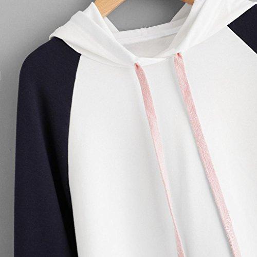 Hiroo Moda Donna Autunno Inverno Felpa con cappuccio Raglan Appliques Cotton Blend Sweatshirt Manica lunga Pullover Top Camicetta Bianca