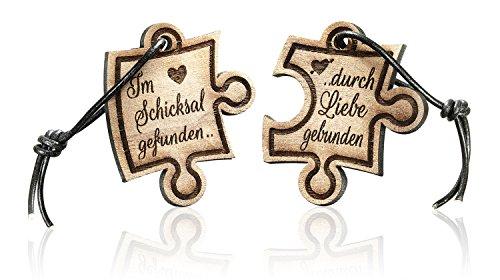 2er Set Schlüsselanhänger Puzzle aus Holz mit Gravur. Im Schicksal gefunden...... -