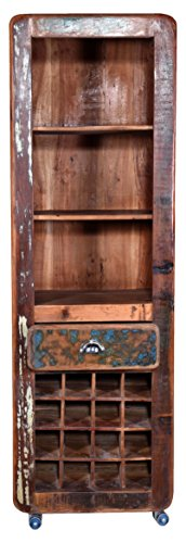 VINTAGE Recycled wood Movable Bar Cabinet (Brown and Blue)