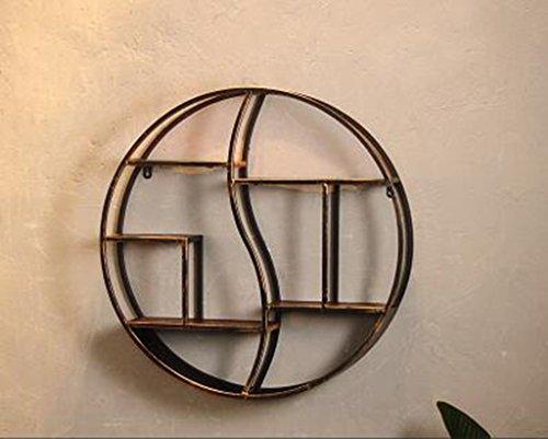 Mensola pensile industriale a vento scaffale rotondo decorativo in ferro battuto decorativo industriale retro mensola decorativa a muro decorativa mensola mensole a muro ( dimensioni : 80*80*12.5cm )