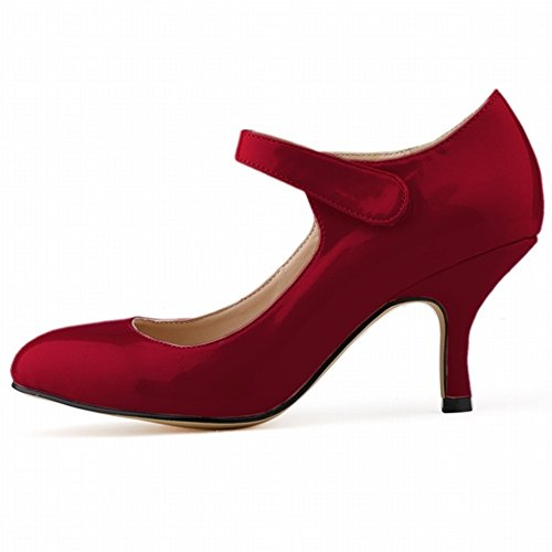 HooH Femmes Bonbons Couleur Velcro Kitten De Travail Escarpins Wine Red