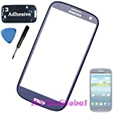 Genuine Samsung Galaxy S III 3 GT-i9300 i9305 Front Glass Lens Replacement + Adhesive & Tools (Pebble Blue)