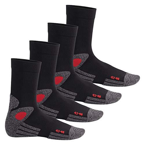 Celodoro 4 Paar Trekking-Socken mit Frotteesohle - Schwarz-Rot 43-46 - Unterhalb Der Knöchel-socken
