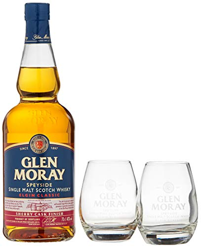 Glen Moray Elgin Classic Sherry Cask Single Malt Scotch Whisky mit 2 Gläsern (1 x 0.70 l)