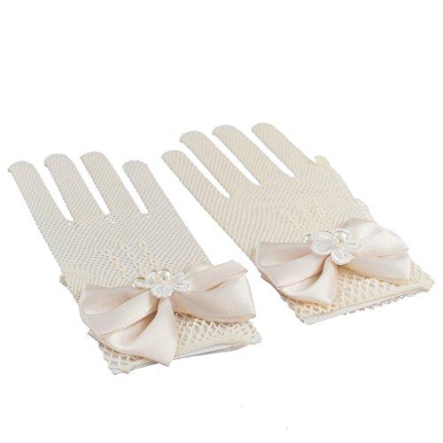 Sharplace Blumenmädchen Fischnetz Handschuhe mit Bowknot für Hochzeit Kommunion Parteien
