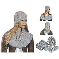 Completo Donna Sciarpa scaldacollo infinity + berretto + guanti a maglia  lana 306fc3ddbfb8
