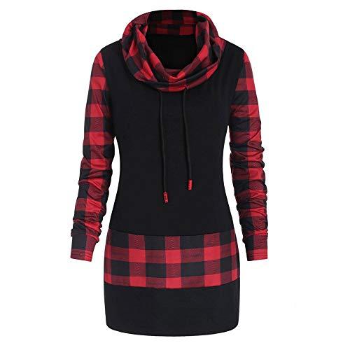 VEMOW Heißer Elegante Damen Plus Size Bluse Cowl Neck Plaid Kordelzug Taste Winter Herbst Hoodie Sweatshirt Tunika Pullover Kleid Tops(Rot, EU-38/CN-L)