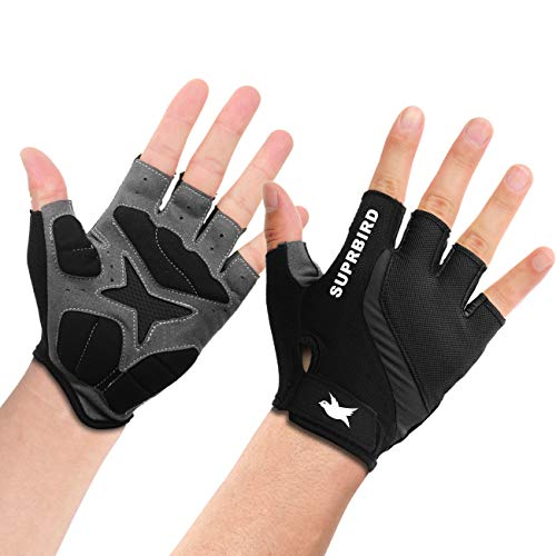 SUPRBIRD Cycling Gloves, Breathable Outdoor Bike Gloves Half Finger Bicycle Gloves for Men and Women Anti Slip Shock-Absorbing M