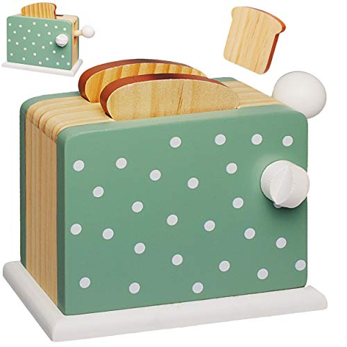 Spielzeug Toaster mit 2 Toastscheiben - aus Holz - beweglich & wirklich funktionierend - Pop up - Spiel Küche - Zubehör Deko - Kinderküche - Weißbrotscheiben .. ()