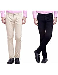 Nimegh Cream and Black Color Cotton Casual Slim fit Trouser For Men's (Pack Of 2)