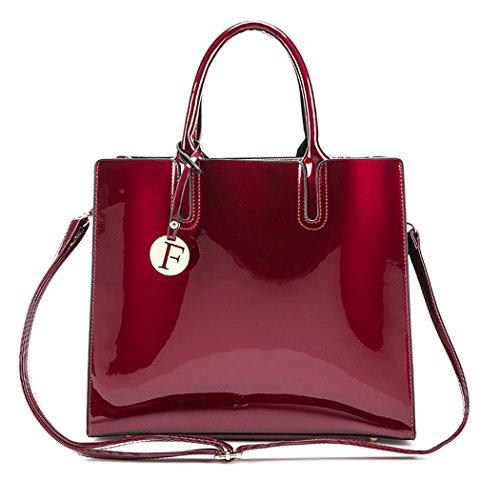 Gesteppte Tasche Mini Tote (DEERWORD Damen Umhängetaschen Handtaschen Totes Henkeltaschen Schultertaschen Leder Weinrot)