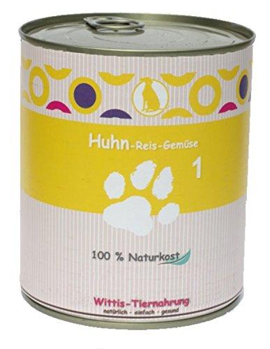 6 x 400 g - Wittis Sensitiv-Fleischgerichte für Hunde - garantiert OHNE künstliche Vitamine!!- Huhn - Reis - Gemüse - Dosenfutter ohne Zusätze