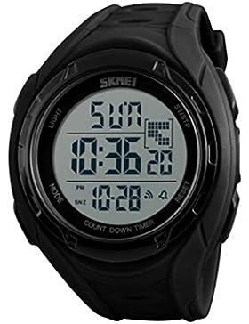 Jugendliche Jungen Jacke Sport Armbanduhr Dual Time Zone Multifunktions Digital Uhr für Junior Kinder Herren Frauen...