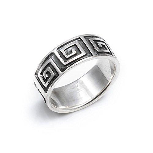 Silverly Frauen Männer .925 Sterling Silber Unisex griechischen Key Design-9mm Ring