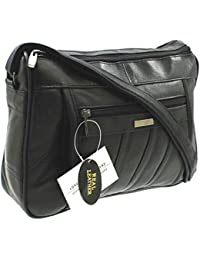 18e45c879 Womens Super Soft Nappa Leather Shoulder Bag / Handbag with Two Main Zipped  Compartments (Black