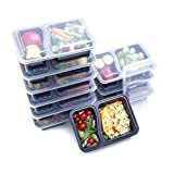 [14 Pack] 2 Compartment Meal Prep Containers: Microwave & Dishwasher Safe, BPA Free, Reusable, Stackable, Portion Control Bento Lunch Box Food Containers + Free Sauce/Dressing Tubs (14)