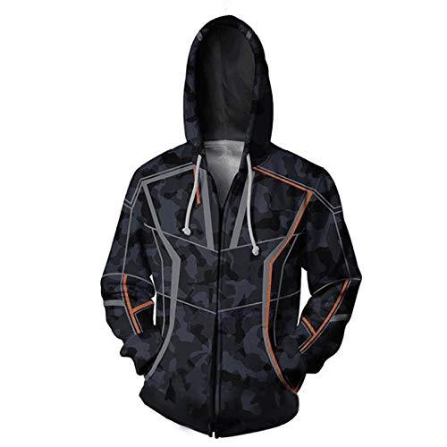 Halloween 3D Gedruckt Kapuzenpullover Cosplay Sweatshirt Held Terylene Zip-up Jacke Kleidung für Frühling und ()