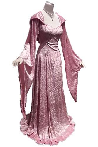 lancoszp Traje de Princesa de Cuello Cuadrado Vintage Disfraz de Manga con Llama Retro Medieval con Capucha Rosado, XXL