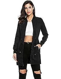Meaneor Veste Blouson Jacket Femme Mode Reaso Trench Coat Parka Outwear Cardigan