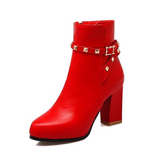 AalarDom Damen Hoher Absatz Eingelegt Weiches Material Reißverschluss Stiefel Rot