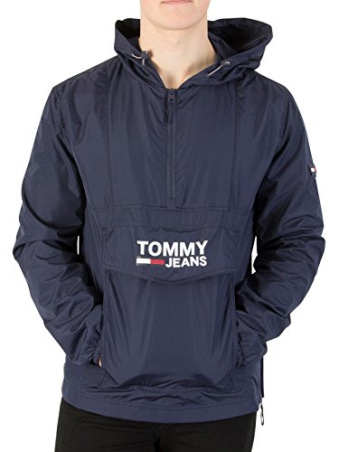 Tommy Jeans Herren Pullover Anorak Jacke, Blau, X-Small (Anorak Pullover,)
