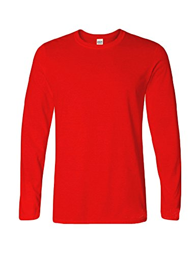 Bestgift Herren Langarm T-Shirt Baumwolle Tee Solide Farbe Basic Shirt Tops Rot