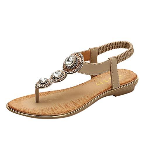 Damen Mode Sommer Sandalen Böhmischen Stil Schuhe Flacher Absatz Pantoffeln Neu