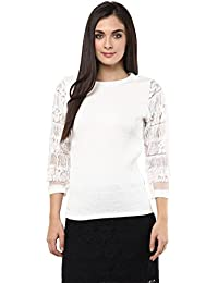 Remanika White color Knitted Polyester Top for womens