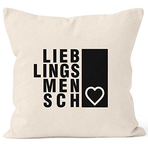 Kissenbezug Lieblingsmensch Geschenk Freundschaft Partner beste Freundin Kissen-Hülle 40x40 Baumwolle Moonworks® natur 40cm x 40cm
