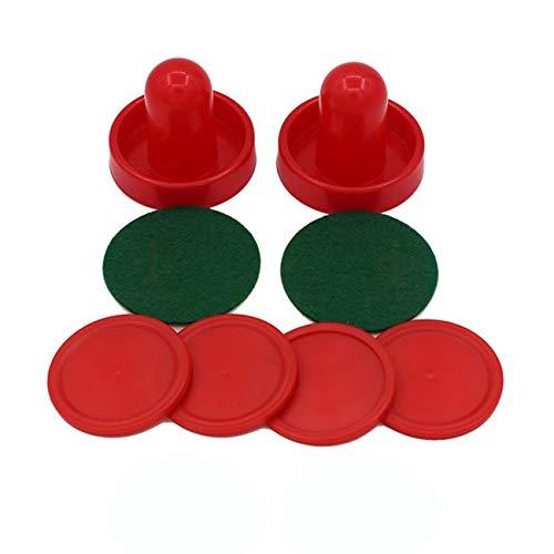 Jiobapiongxin Standard Mini Air Hockey Ersatz 60/76/96 mm 2 Pusher Goalies 4 Pucks Filzset für Spieltischgeräte JBP-X