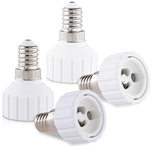 kwmobile 4X Casquillos de lámpara - Adaptador conversor de Montura E14 a Casquillo GU10 - Zócalos para lámparas LED halógenas y de Ahorro