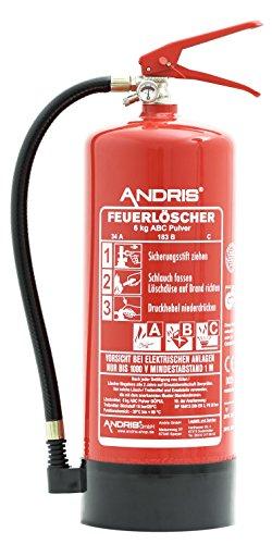 ANDRIS Feuerlöscher 6kg ABC Pulverlöscher EN3 mit Manometer, Prüfventil + Standfuß, 10 LE