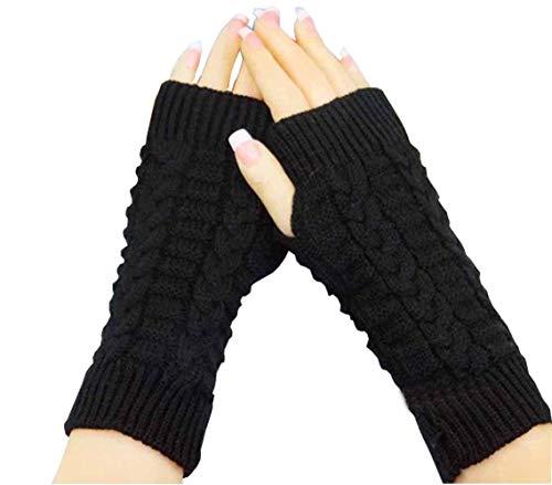 Upstore 1 Paar Unisex Erwachsene Winter weich gestrickt kurz Fingerlose Handschuhe Daumenloch Elastische Stretch Fäustlinge Texting Handschuhe Handwärmer, Schwarz, One Size (Erwachsene Kurze Fingerlose Schwarze Handschuhe)