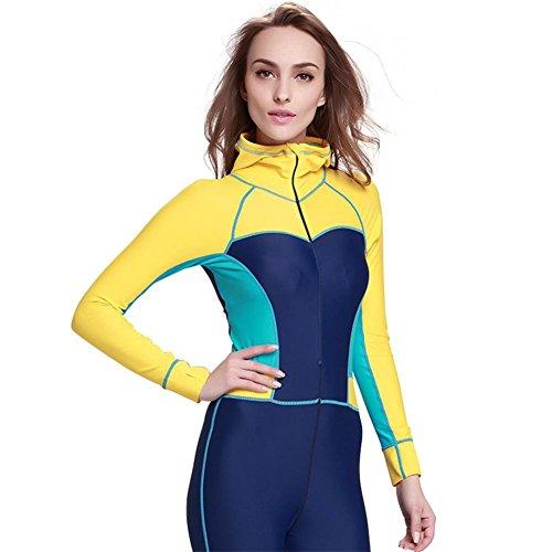Frauen siamesische Kleidung Wetsuits Anzug Kleider Outdoor Sport Tauchen Anzug Surfers, yellow, xl
