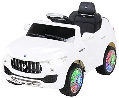 Kinder Elektroauto Maserati Levante Suv - Lizenziert - 2 x 25 Watt Motor - Lowriderfunktion - Rc 2,4 Ghz Fernbedienung - Bluetooth - Usb - Sd - Elektro Auto für Kinder ab 3 Jahre (Weiß)