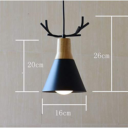 L.Q. Geweih Lampe Kronleuchter Nordic Restaurant Einzelkopf Deckenleuchte Holz mit Schmiedeeisen Pendelleuchte mit E27 Lampensockel für Wohnzimmer Esszimmer Küche Cafe