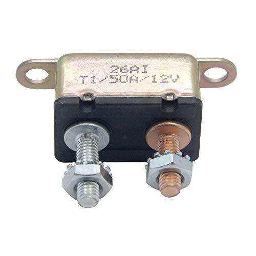 RKURCK 12V 50A Auto Stud Bolt Circuit Breaker Automatic Reset Fuse 50 Amp (50 Amp Circuit Breaker)