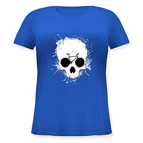Shirtracer Radsport - Ride or Die - Totenkopf Fahrrad - Lockeres Damen-Shirt in Großen Größen mit Rundhalsausschnitt Blau
