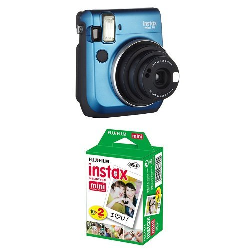 Fujifilm Instax Mini 70 Appareil photo instantané Bleu + Fujifilm - Twin Films pour Instax Mini - 86 x 54 mm - Pack 2 x 10 Films Fujifilm Ring