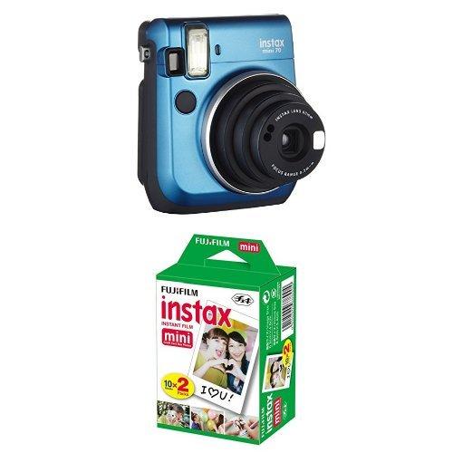 Fujifilm Instax Mini 70 Appareil photo instantané Bleu + Fujifilm - Twin Films pour Instax Mini - 86 x 54 mm - Pack 2 x 10 Films - Appareil Photo