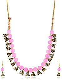 Catalyst Gold Plated Oxidise Polish Metal Pink Coloured Pearl Jewellery Set For Women/Girls