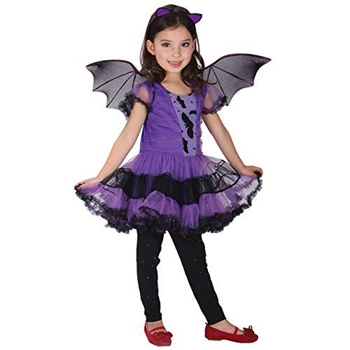 ZooBoo Halloween Mädchen Kleid Kostüm - Anziehende Attraktive Kinderkleidung für Allerheiligen Weihnachten Party Maskerade Cosplay Karneval Rollenspiel Fledermaus Hexe - 3 in 1 Set (Violett, Körpergröße ()
