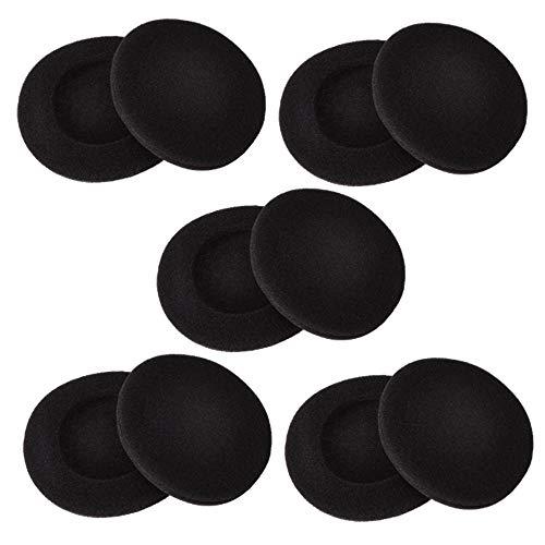 2 Zoll Kopfhörerpolster Ohrpolster Schaumstoff Polster für Sony Philips Kopfhörer, Schwarz, 5 Paar