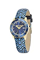 Just Cavalli Just In Time Women's Quartz Watch with Blue Dial Analogue Display and Black Leather Strap R7251202502