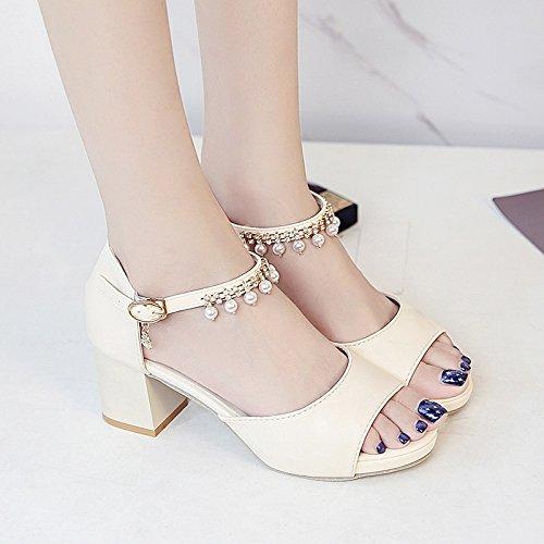 RUGAI-UE Sandali Estate Donna Scarpe High-Heeled diamante scarpe dello studente Beige