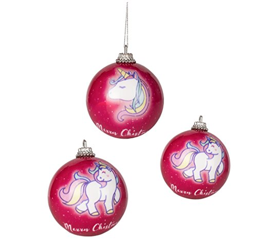 3x Einhorn Unicorn Christbaumkugeln Trend 2017 Weihnachtskugeln Weihnachtsbaumschmuck Kugeln für...