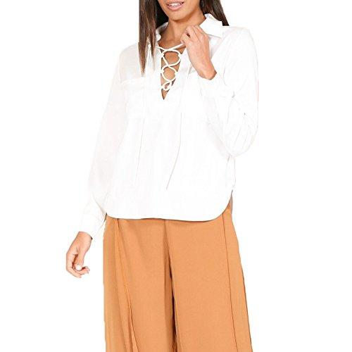 Junshan Femmes Chemise Casual Blouse Col V manches longues Blanc